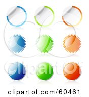 Royalty Free RF Clipart Illustration Of A Digital Collage Of Peeling Blank Burst And Round Stickers by Oligo