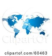 Royalty-Free (RF) Clipart Illustration of a Gradient Blue World Atlas Map by Oligo