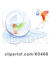 Royalty Free RF Clipart Illustration Of A Homeless Goldfish Leaving His Tipped Over Bowl Behind