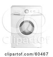 Royalty Free RF Clipart Illustration Of A Modern White Washing Machine With A Glass Door