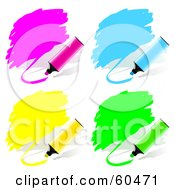 Royalty Free RF Clipart Illustration Of A Digital Collage Of Pink Blue Yellow And Green Highlighter Pen Scribbles