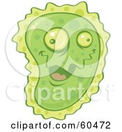 Goofy And Friendly Green Virus Character