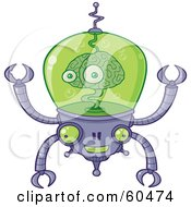 Royalty Free RF Clipart Illustration Of A Smiling Brain Robot With Pincers And The Brain Floating In Green Liquid by John Schwegel