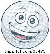 Friendly Smiling Golf Ball Character With A Face