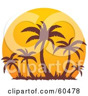 Royalty Free RF Clipart Illustration Of Brown Palm Trees Silhouetted Against A Large Orange At Sunset by John Schwegel #COLLC60478-0127