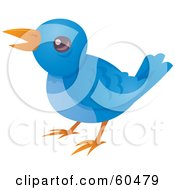 Royalty Free RF Clipart Illustration Of A Little Blue Bird Tweeting by John Schwegel