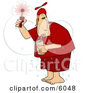Hot Man Drinking A Cold Beverage And Using A Hand Held Fan Clipart Picture