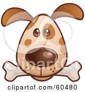 Royalty Free RF Clipart Illustration Of A Cute Brown Puppy Dog Face With A Bone In His Mouth by John Schwegel