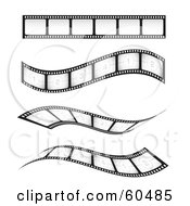 Royalty Free RF Clipart Illustration Of A Digital Collage Of Four Straight And Waving Blank And Numbered Film Strips by TA Images