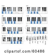 Royalty Free RF Clipart Illustration Of A Digital Collage Of Blue And White Piano Key Chords