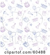 Happy Birthday Background Of Cakes Balloons And Presents On White