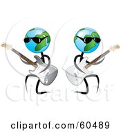 Royalty Free RF Clipart Illustration Of Cool Globe Dudes Playing Guitars And Wearing Shades by TA Images
