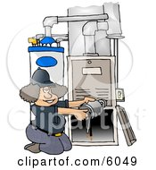 Woman Repairing A Broken Furnace Attached To A Water Heater Clipart Picture