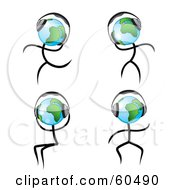 Royalty Free RF Clipart Illustration Of A Digital Collage Of Globe Dudes Dancing While Listening To Music Through Headphones by TA Images