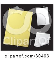 Royalty Free RF Clipart Illustration Of A Digital Collage Of Three Yellow And White Memos Taped To A Black Wall