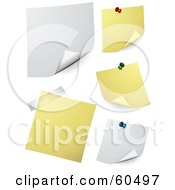 Royalty Free RF Clipart Illustration Of A Digital Collage Of White And Yellow Memos Pinned Sticking And Taped To A Wall