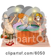 Happy Men And Women At A Hot Tub Party Clipart Picture