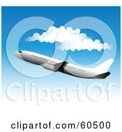 Royalty Free RF Clipart Illustration Of A Large Commercial Airliner Plane Flying Near Puffy White Clouds In A Gradient Blue Sky
