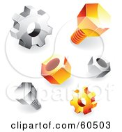 Digital Collage Of Orange And Silver Shiny 3d Gears Nuts And Bolts