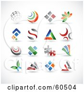 Royalty Free RF Clipart Illustration Of A Digital Collage Of 16 Colorful Abstract Web Design Elements Or Logos by TA Images #COLLC60504-0125