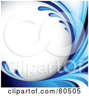 Royalty Free RF Clipart Illustration Of A Curving Blue Splash Background On White by TA Images