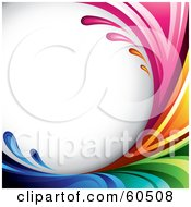 Royalty Free RF Clipart Illustration Of A Curving Rainbow Splash Background On White by TA Images #COLLC60508-0125