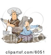 Gold Miners Panning For Gold Clipart Picture