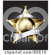 Royalty Free RF Clipart Illustration Of A Gold Star Police Badge Draped By A Blank Silver Banner On A Bursting Gray Background by TA Images #COLLC60510-0125