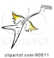 Flying Electric Guitar With Yellow Wings