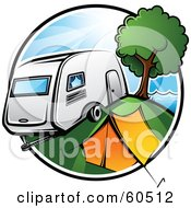 Royalty Free RF Clipart Illustration Of A Retro Camper Parked By A Tent And Tree In A Camp Ground