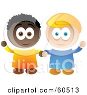 Royalty Free RF Clipart Illustration Of Two Friendly African American And Caucasian Boys Holding Hands And Waving