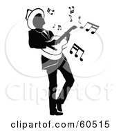 Royalty Free RF Clipart Illustration Of A Partial Silhouetted Man Leaning Back While Playing A Guitar by TA Images #COLLC60515-0125