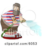 Fat Man With A Beard Spraying Water From A Garden Hose Clipart Picture