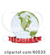 Royalty Free RF Clipart Illustration Of A Red Arkansas Banner Along The Bottom Of A Grid Globe by Michael Schmeling