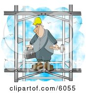 Male Construction Worker Putting Together The Iron Structure Of A Building Clipart Picture