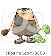 Cavewoman Holding A Dead Snake And A Wooden Club Clipart Picture by Dennis Cox