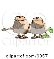 Hunting Caveman And Cavewoman Armed With Weapons Clipart Picture by Dennis Cox