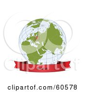 Royalty Free RF Clipart Illustration Of A Red Belarus Banner Along The Bottom Of A Grid Globe