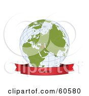 Royalty Free RF Clipart Illustration Of A Red Armenia Banner Along The Bottom Of A Grid Globe