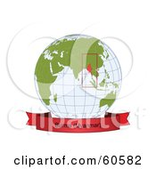 Royalty Free RF Clipart Illustration Of A Red Burma Myanmar Banner Along The Bottom Of A Grid Globe