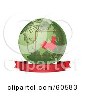Royalty Free RF Clipart Illustration Of A Red China Banner Along The Bottom Of A Green Grid Globe