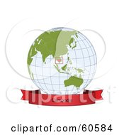 Royalty Free RF Clipart Illustration Of A Red Cambodia Banner Along The Bottom Of A Grid Globe