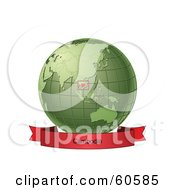 Royalty Free RF Clipart Illustration Of A Red Cambodia Banner Along The Bottom Of A Green Grid Globe