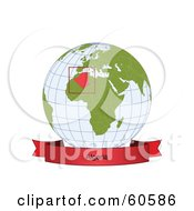 Royalty Free RF Clipart Illustration Of A Red Algeria Banner Along The Bottom Of A Grid Globe