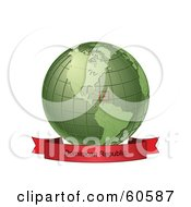 Royalty Free RF Clipart Illustration Of A Red Dominican Republic Banner Along The Bottom Of A Green Grid Globe
