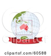 Royalty Free RF Clipart Illustration Of A Red Australia Banner Along The Bottom Of A Grid Globe
