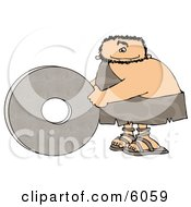 Caveman Rolling A Stone Wheel On The Ground