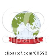 Royalty Free RF Clipart Illustration Of A Red Bhutan Banner Along The Bottom Of A Grid Globe