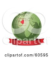 Royalty Free RF Clipart Illustration Of A Red Algeria Banner Along The Bottom Of A Green Grid Globe
