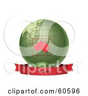 Royalty Free RF Clipart Illustration Of A Red Australia Banner Along The Bottom Of A Green Grid Globe